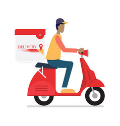 delivery man riding motor bike vector image