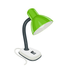 Desk electric lamp with green vector
