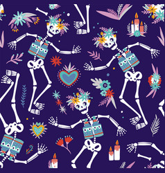 dia de los muertos bright colored seamless pattern vector image