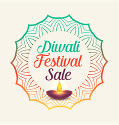 diwali festival sale with mandala style decoration vector image