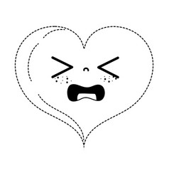 Dotted shape gaudy heart love kawaii cartoon vector