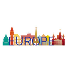 Europe skyline landmarks with text or word vector