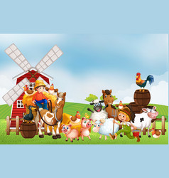 Farm in nature scene with windmill and animal farm vector