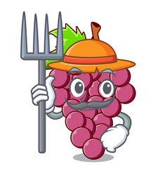 farmer red grapes fruit in cartoon shape vector image