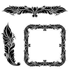 floral decorations frame and dividers vector image