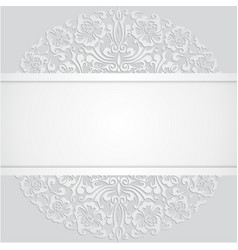 Floral Swirl White 3d Invitation Cards vector