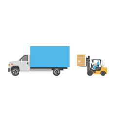 forklift and truck vector image