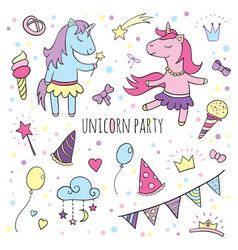funny unicorns set collection of happy birthday vector image