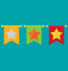 Gold star on the flag icon set vector