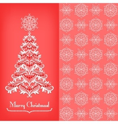 Greeting card with Christmass tree red vector image