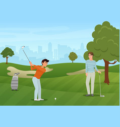 Group golfers friends characters on green vector