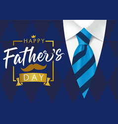 Happy fathers day golden lettering blue suit vector
