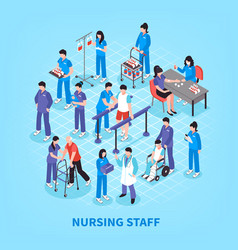 Hospital nurses flowchart isometric poster vector