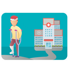 injured man and hospital vector image