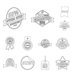 isolated object of emblem and badge symbol set of vector image