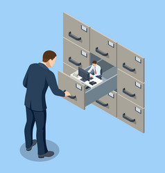 Isometric staff file resume for work reviewing vector