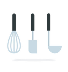 kitchen whisk for whipping spatula and soup ladle vector image