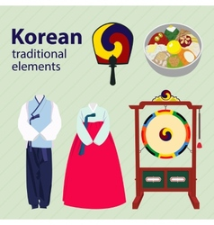 Korean traditional elements set vector image