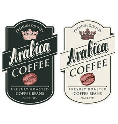 Labels for coffee beans in retro style vector