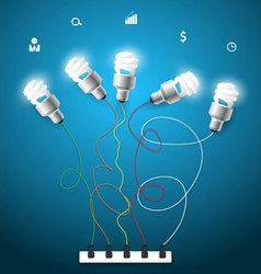 Light bulbs ideas concept with business icons vector image