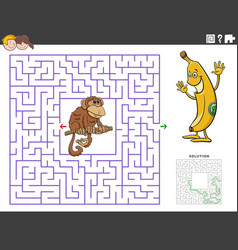 Maze educational game with funny monkey and banana vector