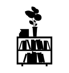 monochrome furniture with books and vase vector image
