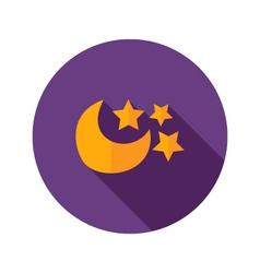 Moon with Three Stars Flat Icon vector