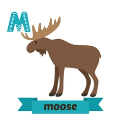 Moose M letter Cute children animal alphabet in vector