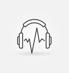 Music headphones with sound wave icon or vector