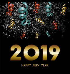 new year 2019 firework confetti gold card vector image