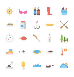 Ocean and sea life icons pack vector
