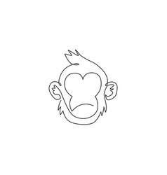 one single line drawing cute thinking monkey vector image