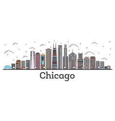 outline chicago illinois city skyline with color vector image