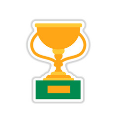 Paper sticker on white background football cup vector