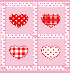 patchwork background with hearts pixel-art style vector image