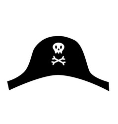 pirate black hat icon with skull crossbones cute vector image