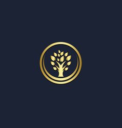 Plant tree gold logo vector