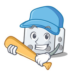 Playing baseball dice character cartoon style vector