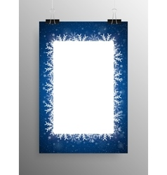 Poster Frame Falling Snow Blue Background vector image