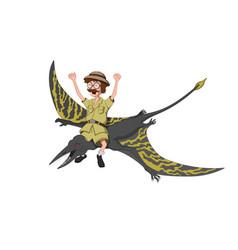professor on pterodactylus in cartoon style vector image