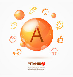 realistic detailed 3d vitamin a card concept vector image