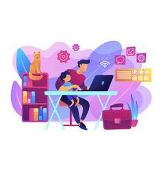 Remote worker concept vector