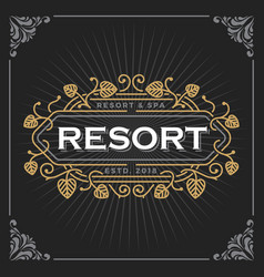 resort and spa logo vintage luxury banner vector image