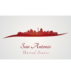 San Antonio skyline in red vector image
