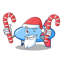 Santa with candy zeppelin mascot cartoon style vector