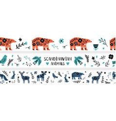 scandinavian banners seamless pattern vector image