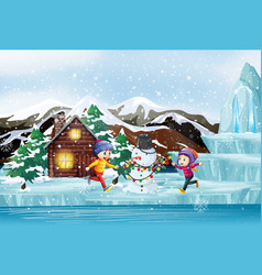 Scene with snowman and children vector