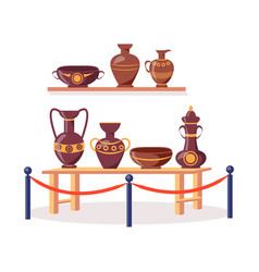 Set of ancient greek pottery isolated vector