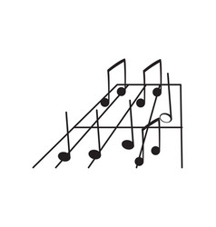 Set of musical notes on a pentagram vector