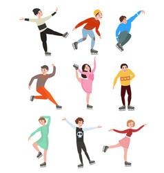 set of professional men and women figure skating vector image